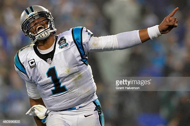 Cam Newton of the Carolina Panthers celebrates during their NFC Wild Card Playoff game against the Arizona Cardinals at Bank of America Stadium on...
