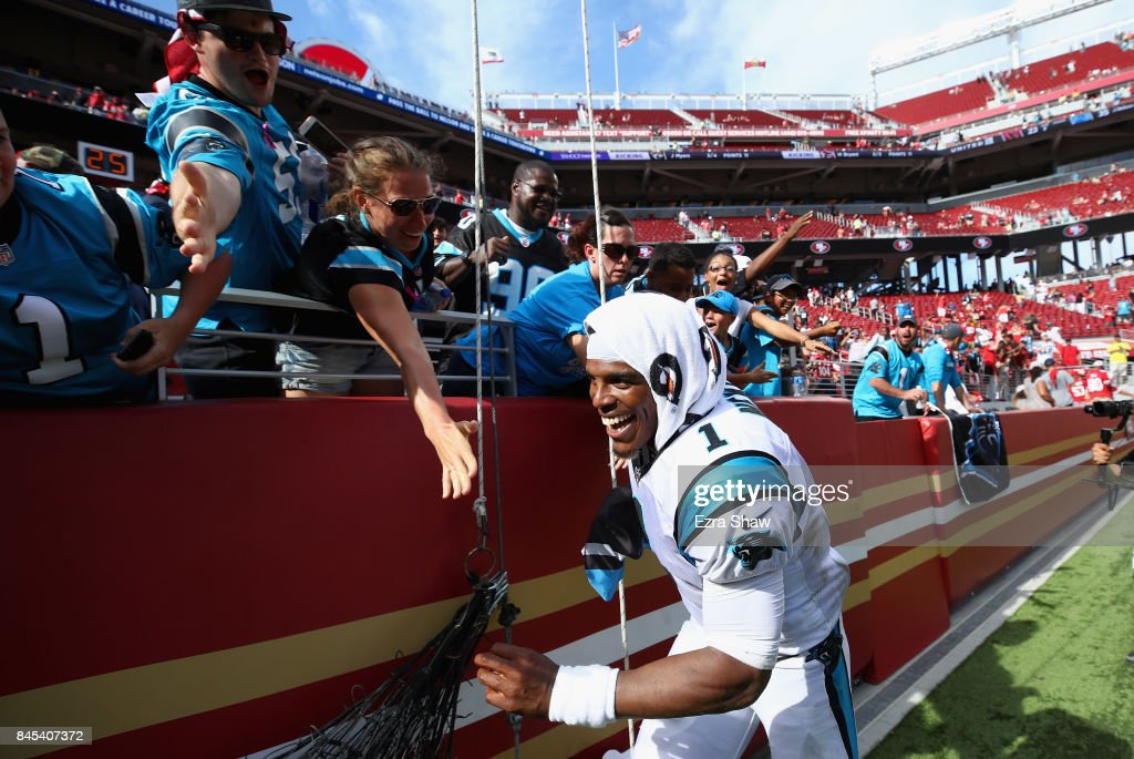Cam Newton #1 of the Carolina Panthers celebrates with fans after they beat the San Francisco 49ers at Levi's Stadium on September 10, 2017 in Santa Clara, California.