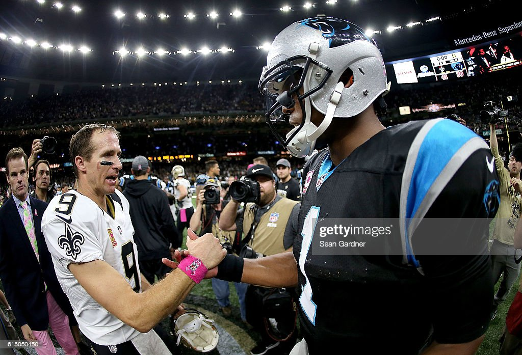 Cam Newton #1 of the Carolina Panthers congratulates Drew Brees #9 of the New Orleans Saints after the Saints defeated the Panthers 41-38 at the Mercedes-Benz Superdome on October 16, 2016 in New Orleans, Louisiana.