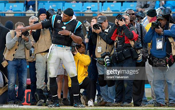 Cam Newton of the Carolina Panthers dances during the closing seconds of their win against the Washington Redskins at Bank of America Stadium on...