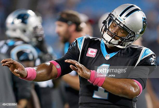 Cam Newton of the Carolina Panthers dances to the music during warm up prior to their game against Philadelphia Eagles at Bank of America Stadium on...