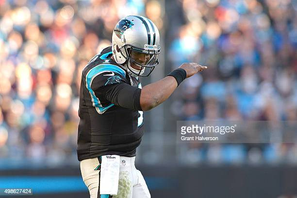 Cam Newton of the Carolina Panthers does The Dab after a touchdown against the Washington Redskins during their game at Bank of America Stadium on...