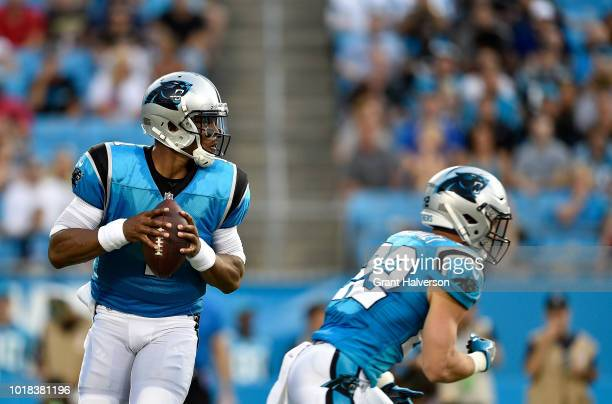 Cam Newton of the Carolina Panthers drops back to pass against the Miami Dolphins in the first quarter during the game at Bank of America Stadium on...