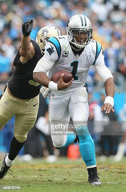 Cam Newton of the Carolina Panthers during their game at Bank of America Stadium on September 27 2015 in Charlotte North Carolina