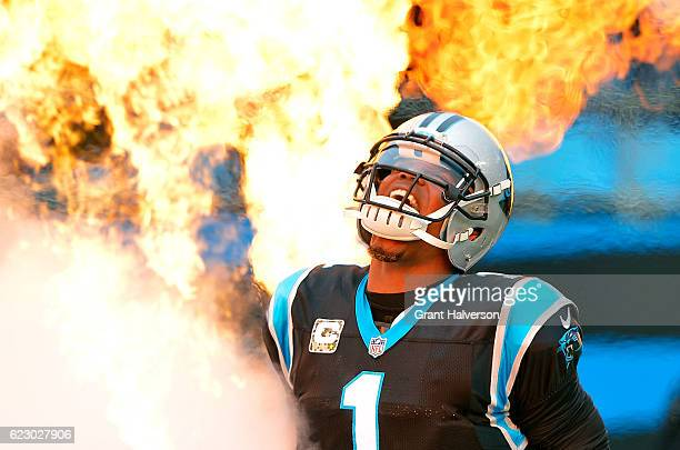 Cam Newton of the Carolina Panthers emerges from the tunnel before their game against the Kansas City Chiefs at Bank of America Stadium on November...
