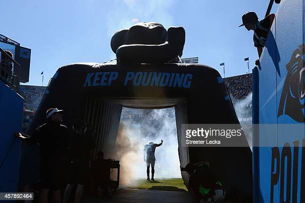 Cam Newton of the Carolina Panthers exits the tunnel before the game against the Seattle Seahawks at Bank of America Stadium on October 26 2014 in...
