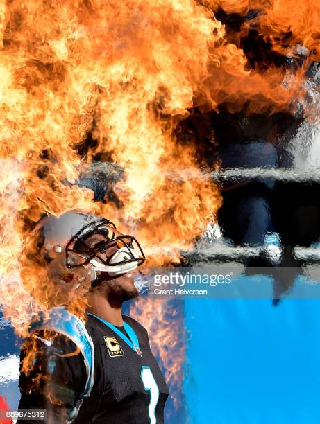 Cam Newton of the Carolina Panthers is introduced during their game against the Minnesota Vikings at Bank of America Stadium on December 10 2017 in...