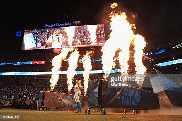 Cam Newton of the Carolina Panthers is introduced prior to the NFC Championship Game between the Carolina Panthers and the Arizona Cardinals at Bank...