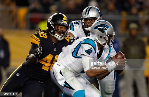 Cam Newton of the Carolina Panthers is sacked by Bud Dupree of the Pittsburgh Steelers during the second half in the game at Heinz Field on November...