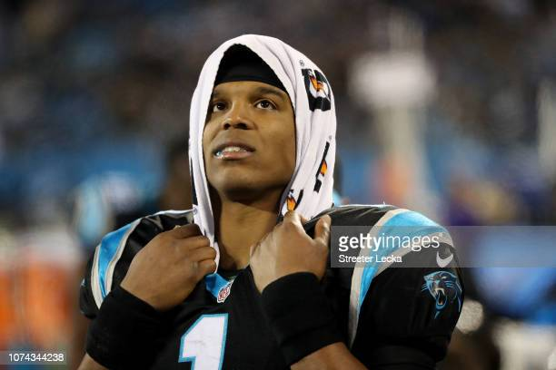 Cam Newton of the Carolina Panthers looks on against the New Orleans Saints in the third quarter during their game at Bank of America Stadium on...