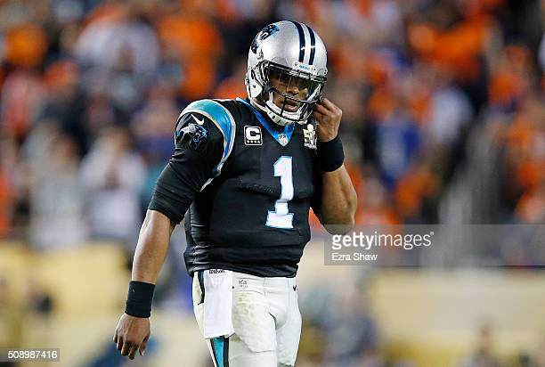 Cam Newton of the Carolina Panthers looks on in the third quarter against the Denver Broncos during Super Bowl 50 at Levi's Stadium on February 7...