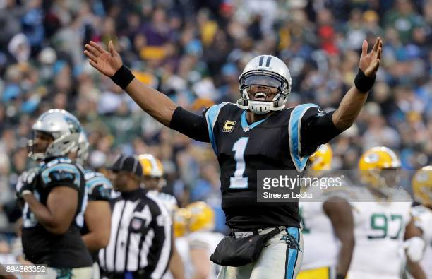 Cam Newton of the Carolina Panthers reacts after a 3124 victory over the Green Bay Packers at Bank of America Stadium on December 17 2017 in...