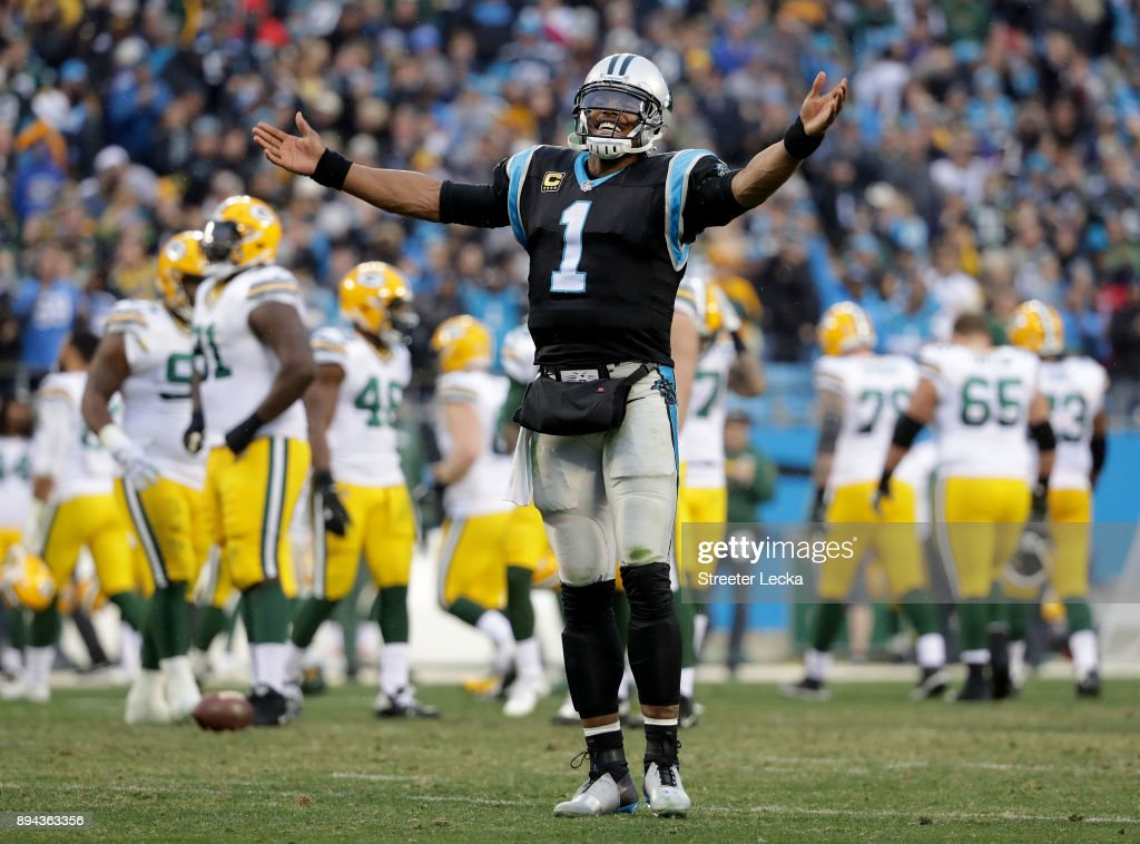 Cam Newton #1 of the Carolina Panthers reacts after a 31-24 victory over the Green Bay Packers at Bank of America Stadium on December 17, 2017 in Charlotte, North Carolina.