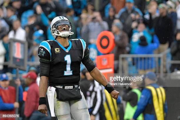 Cam Newton of the Carolina Panthers reacts after a gameclinching fumble by the Green Bay Packers during their game at Bank of America Stadium on...