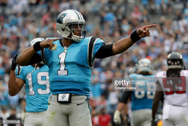 Cam Newton of the Carolina Panthers reacts after a play against the Atlanta Falcons during their game at Bank of America Stadium on November 5 2017...