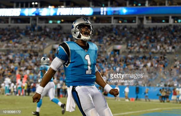 Cam Newton of the Carolina Panthers reacts after a touchdown against the Miami Dolphins in the second quarter during the game at Bank of America...