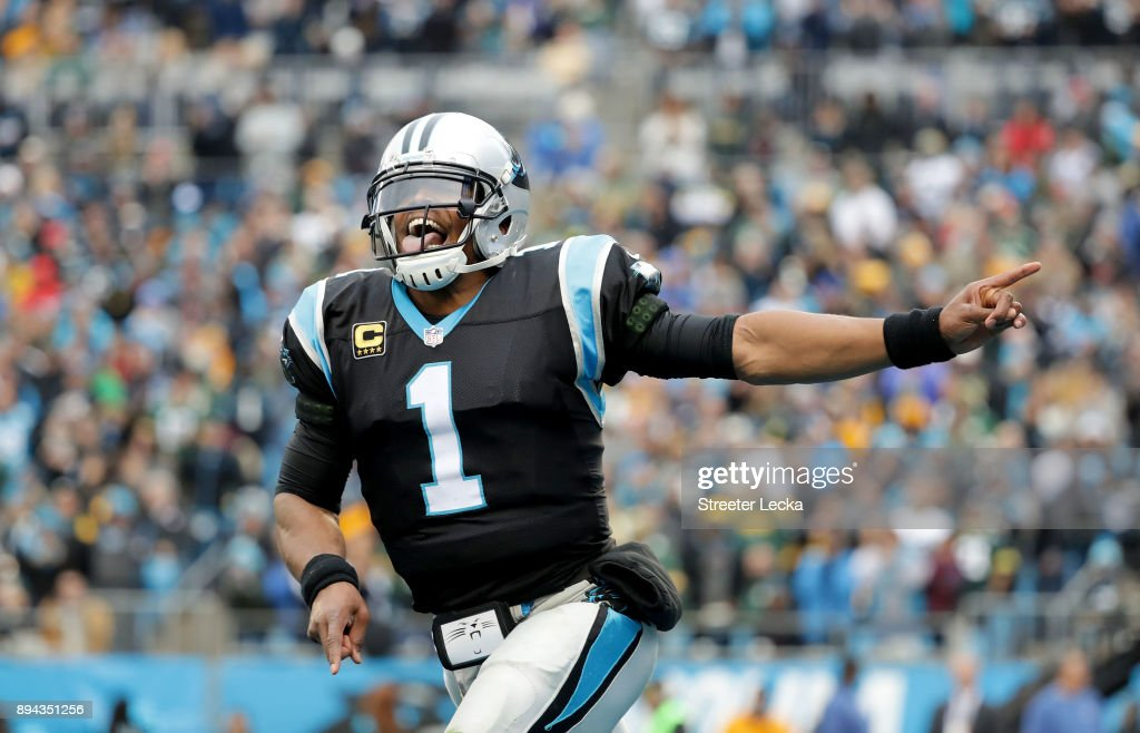 Cam Newton #1 of the Carolina Panthers reacts after a touchdown against the Green Bay Packers in the fourth quarter during their game at Bank of America Stadium on December 17, 2017 in Charlotte, North Carolina.
