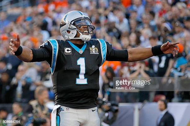 Cam Newton of the Carolina Panthers reacts after Jonathan Stewart rushes for a 1yard touchdown during the second quarter of Super Bowl 50 against the...