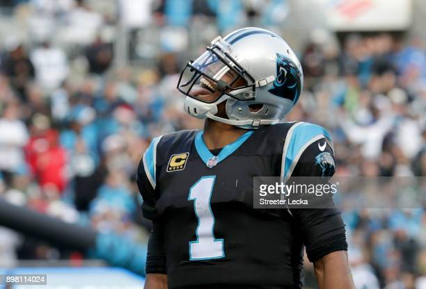 Cam Newton of the Carolina Panthers reacts after scoring the game winning touchdown against the Tampa Bay Buccaneers in the fourth quarter during...