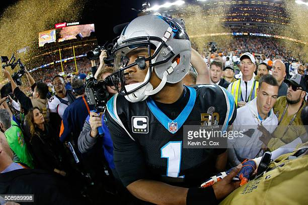 Cam Newton of the Carolina Panthers reacts after the Denver Broncos defeat the Carolina Panthers with a score of 24 to 10 to win Super Bowl 50 at...