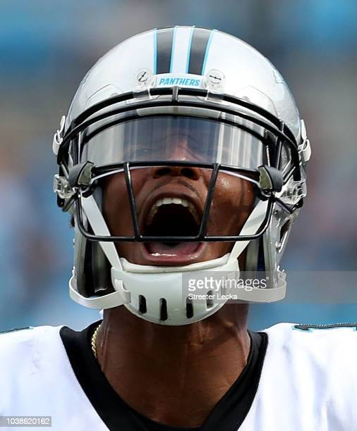 Cam Newton of the Carolina Panthers reacts after their 3121 victory over the Cincinnati Bengals at Bank of America Stadium on September 23 2018 in...