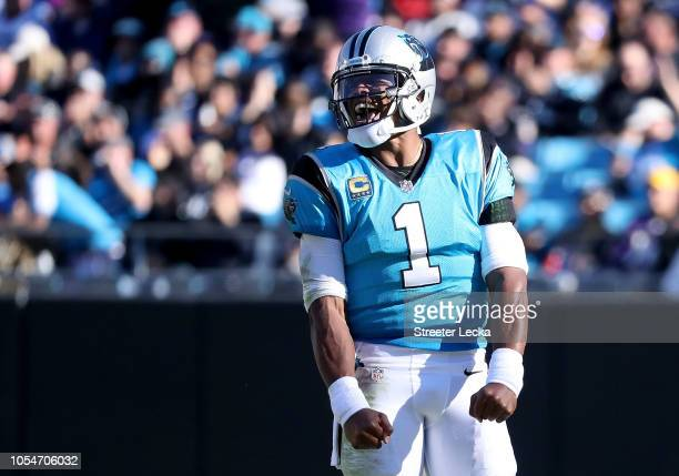 Cam Newton of the Carolina Panthers reacts against the Baltimore Ravens late in the fourth quarter during their game at Bank of America Stadium on...