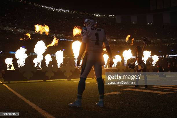 Cam Newton of the Carolina Panthers reacts before a game against the New Orleans Saints at the MercedesBenz Superdome on December 3 2017 in New...