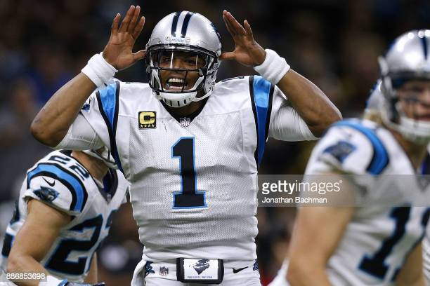 Cam Newton of the Carolina Panthers reacts during a game against the New Orleans Saints at the MercedesBenz Superdome on December 3 2017 in New...