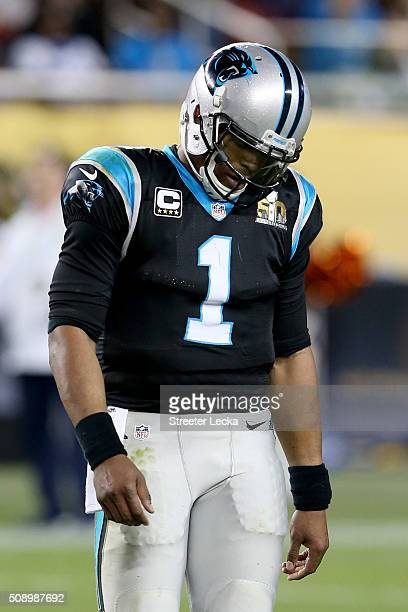 Cam Newton of the Carolina Panthers reacts during Super Bowl 50 against the Denver Broncos at Levi's Stadium on February 7 2016 in Santa Clara...