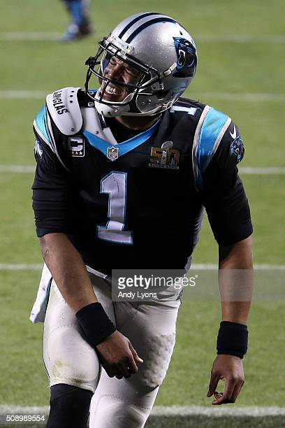 Cam Newton of the Carolina Panthers reacts during the fourth quarter against the Denver Broncos in Super Bowl 50 at Levi's Stadium on February 7 2016...