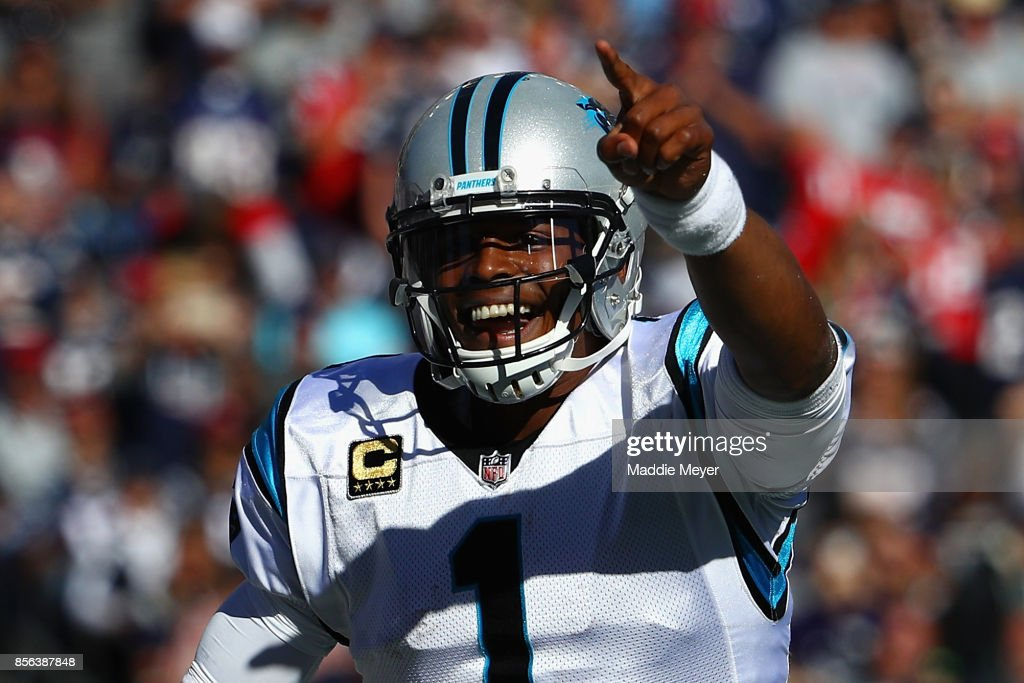Cam Newton #1 of the Carolina Panthers reacts during the fourth quarter against the New England Patriots at Gillette Stadium on October 1, 2017 in Foxboro, Massachusetts.