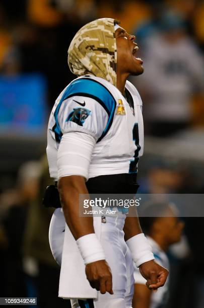 Cam Newton of the Carolina Panthers reacts during warmups before the game Pittsburgh Steelers at Heinz Field on November 8 2018 in Pittsburgh...