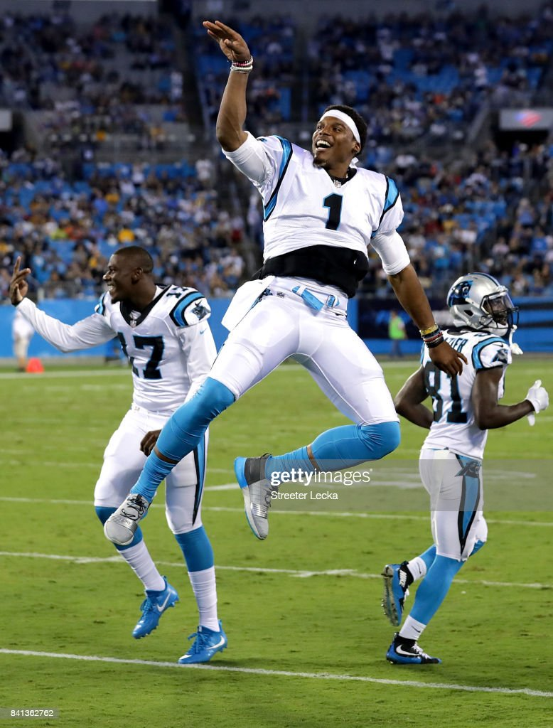 Cam Newton #1 of the Carolina Panthers reacts on the sidelines against the Pittsburgh Steelers during their game at Bank of America Stadium on August 31, 2017 in Charlotte, North Carolina.