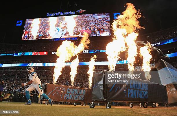 Cam Newton of the Carolina Panthers runs onto the field prior to the NFC Championship Game between the Carolina Panthers and the Arizona Cardinals at...