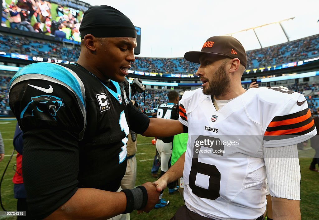 Cam Newton #1 of the Carolina Panthers shakes hands with Brian Hoyer #6 of the Cleveland Browns after a 17-13 at Bank of America Stadium on December 21, 2014 in Charlotte, North Carolina.