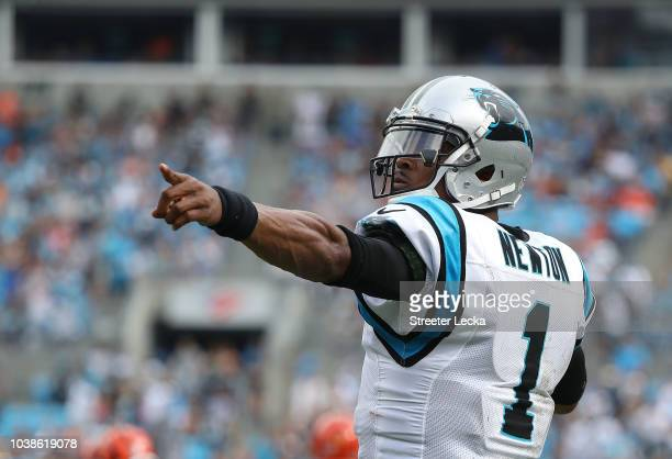 Cam Newton of the Carolina Panthers signals a first down against the Cincinnati Bengals in the fourth quarter during their game at Bank of America...