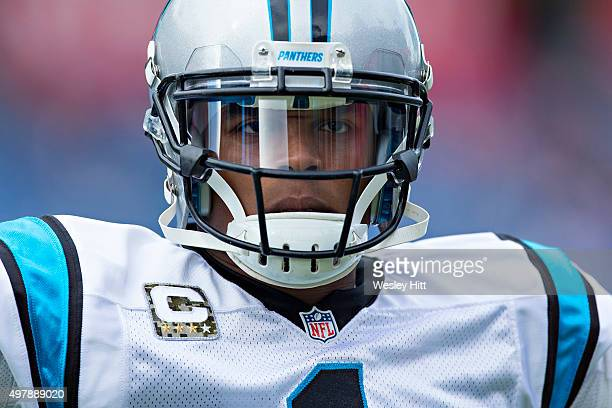 Cam Newton of the Carolina Panthers stares into the camera while warming up before a game against the Tennessee Titans at Nissan Stadium on November...