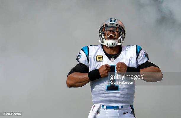Cam Newton of the Carolina Panthers takes the field against the Dallas Cowboys at Bank of America Stadium on September 9 2018 in Charlotte North...