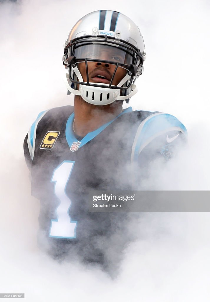Cam Newton #1 of the Carolina Panthers takes the field against the Tampa Bay Buccaneers before their game at Bank of America Stadium on December 24, 2017 in Charlotte, North Carolina.