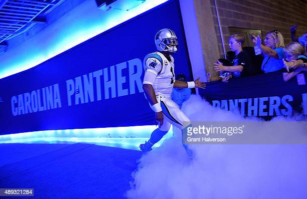 Cam Newton of the Carolina Panthers takes the field for a game against the Houston Texans at Bank of America Stadium on September 20, 2015 in...