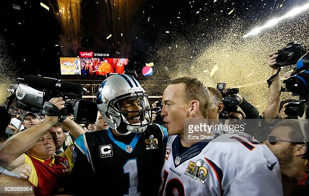 Cam Newton of the Carolina Panthers talks with Peyton Manning of the Denver Broncos after Super Bowl 50 at Levi's Stadium on February 7 2016 in Santa...