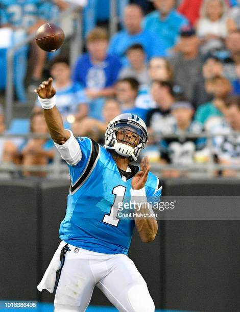 Cam Newton of the Carolina Panthers throws a pass against the Miami Dolphins in the second quarter during the game at Bank of America Stadium on...