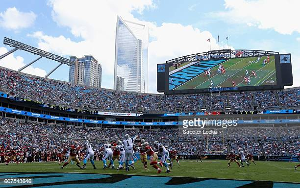 Cam Newton of the Carolina Panthers throws an interception on their first possession against the San Francisco 49ers during their game at Bank of...