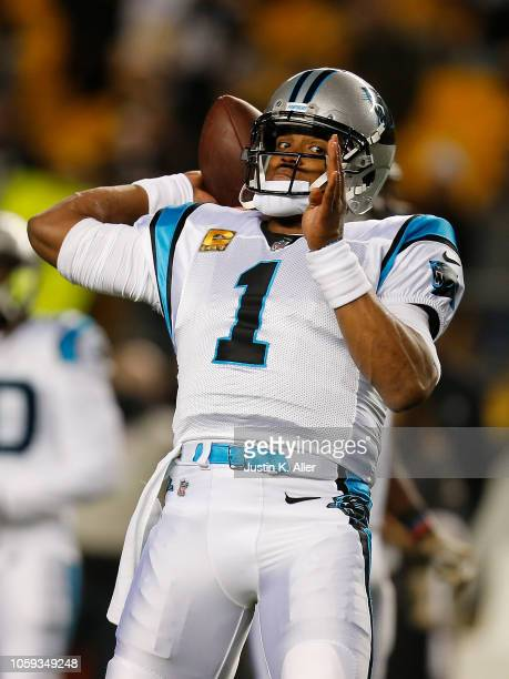 Cam Newton of the Carolina Panthers throws as pass during warmups before the game Pittsburgh Steelers at Heinz Field on November 8 2018 in Pittsburgh...