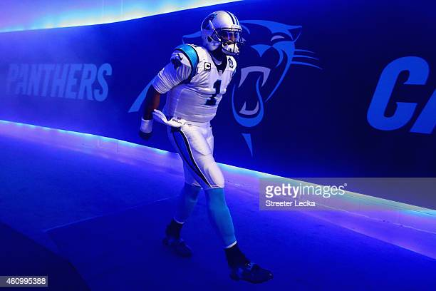 Cam Newton of the Carolina Panthers walks through the tunnel towards the field prior to their NFC Wild Card Playoff game against the Arizona...