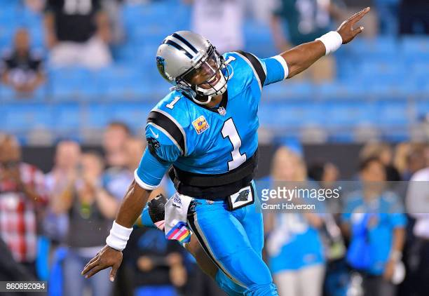 Cam Newton of the Carolina Panthers warms up before a game against the Philadelphia Eagles at Bank of America Stadium on October 12 2017 in Charlotte...