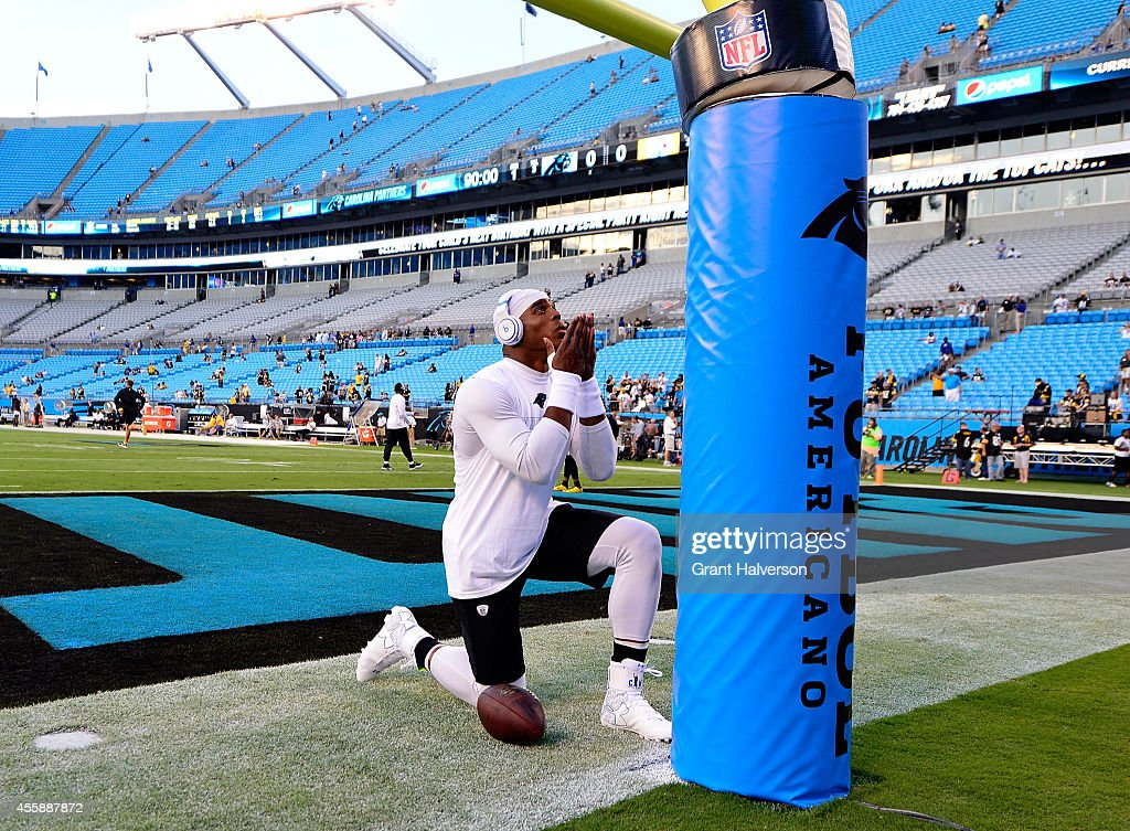 Cam Newton #1 of the Carolina Panthers warms up during pregame of the Panthers vs Steelers game at Bank of America Stadium on September 21, 2014 in Charlotte, North Carolina.