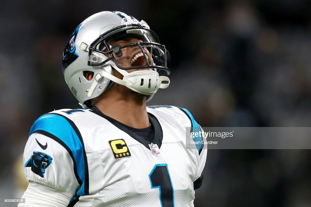 Cam Newton #1 of the Carolina Panthers warms up prior to playing the New Orleans Saints during the NFC Wild Card playoff game at the Mercedes-Benz Superdome on January 7, 2018 in New Orleans, Louisiana.