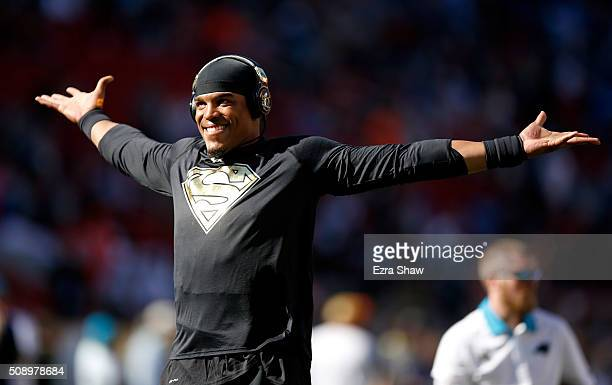 Cam Newton of the Carolina Panthers warms up prior to Super Bowl 50 against the Denver Broncos at Levi's Stadium on February 7 2016 in Santa Clara...
