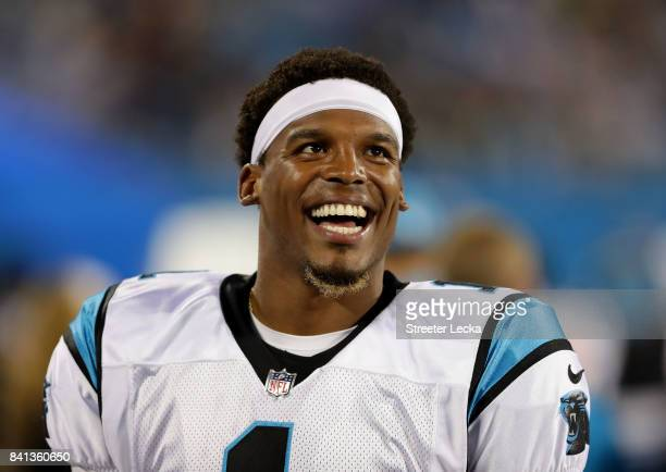 Cam Newton of the Carolina Panthers watches on against the Pittsburgh Steelers during their game at Bank of America Stadium on August 31 2017 in...